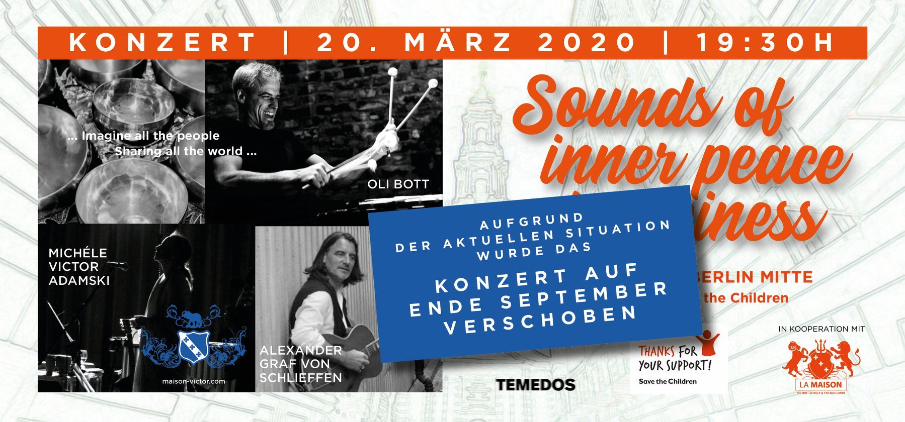 SAVE THE DATE - Sounds of inner peace & happiness Konzert Flyer
